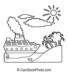 Ship in sea near island concept, outline style