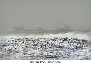 Ship in Stormy Waters