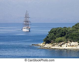 ship in the blue sea