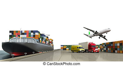 ship in the dock and freight on the dock concept different...