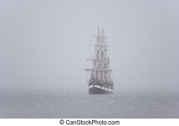 ship in the mist - Tall ship in the morning mist