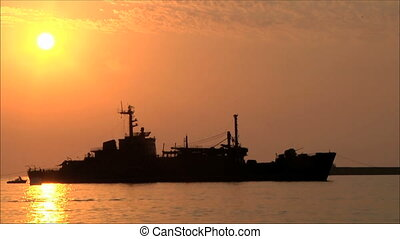 ship in the port at sunset 3
