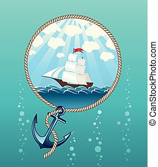 Ship in the sea and anchor