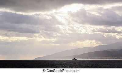 Ship in the Strait of Messina. Italy