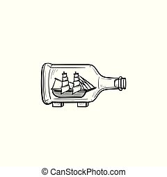 Ship inside the bottle hand drawn sketch icon. - Ship inside...