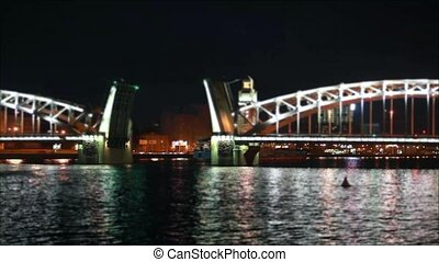 ship is under the drawbridge - ship is moving along the...