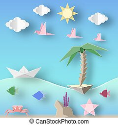 Underwater Life. - Ship, Island, Birds, Clouds, Sun and...