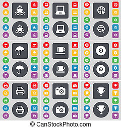 Ship, Laptop, Web cursor, Umbrella, Cup, Disk, Printer, Camera icon symbol. A large set of flat, colored buttons for your design.