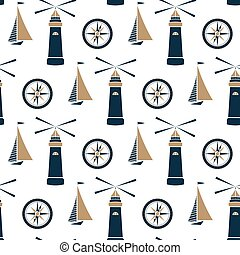 Ship, lighthouse and sea compass seamless pattern.