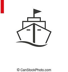 Ship line icon on white