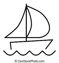 ship line vector icon. Flat outline design. Eps 10