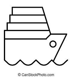 ship liner line vector icon. Flat outline design. Eps 10