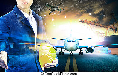 ship loading container in import - export pier and air cargo plane approach in airport use for transport and freight logistic business industry background