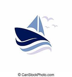ship logo accompanied waves concept