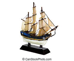 Ship model isolated - sailing vesse (ship) model isolated on...