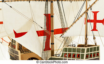 ship model - model of a ship with sails. photo close-up toy ...