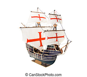 Ship model - Model of the old sailing ship on a white ...
