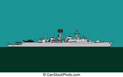 ship., navy., besturend, escorte, raket, county-class, ...