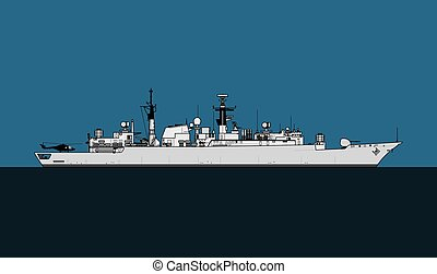 ship., navy., escorte, militair, 22, type, iii, frigate., ...