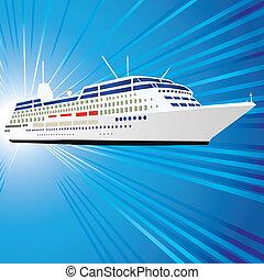 Ship - Ocean liner, ship, motor vessel. Vector illustration...