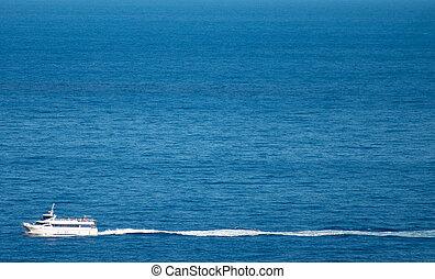ship., ocean, spokojny, krajobraz, turystyczny