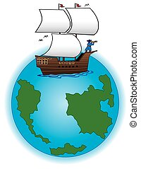 Ship on Globe