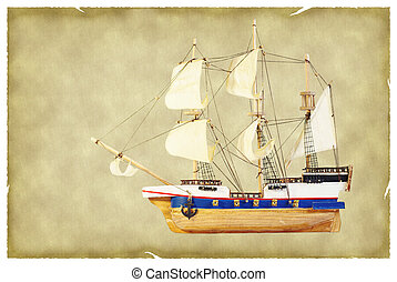 Ship on old paper