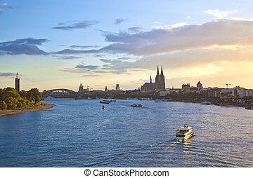 ship on river Rhein by Cologne - ship on river Rhein by...