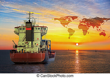 Ship on sea and World map background - shipping travel...