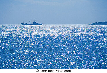 ship on silver sea