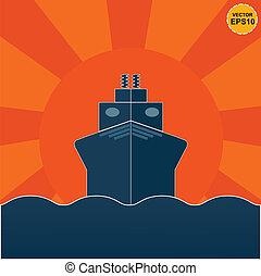 Ship on sunrise or sunset