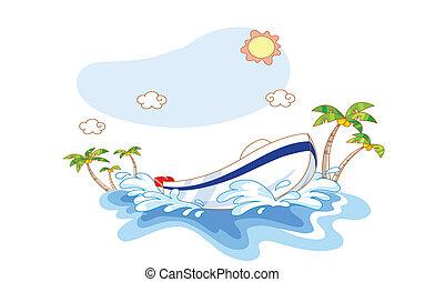 ship on the beach cartoon