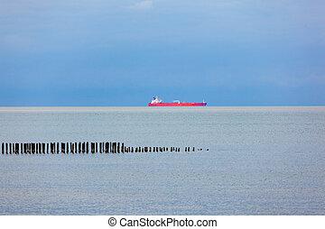 Ship on the horizon of the Black Sea, Poti, Georgia