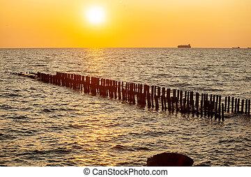 Ship on the horizon of the Black Sea, Poti, Georgia.