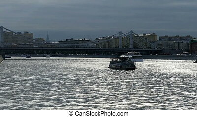 Ship on the Moscow River in the evening