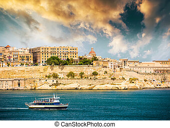 ship on the way to Valletta