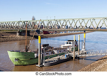 Ship on the Weser river in Bremen, Germany