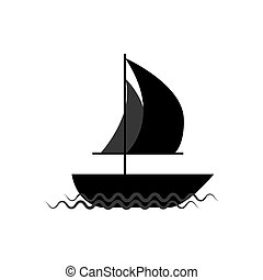 Ship on waves illustration