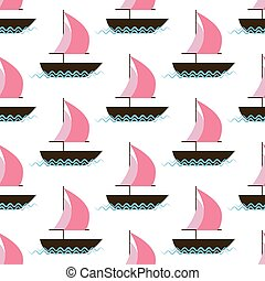 Ship on waves seamless pattern