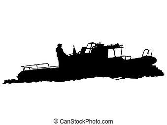 Ship on white