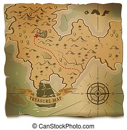 Ship or boat and treasure on old map