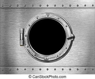 ship or submarine window metal background