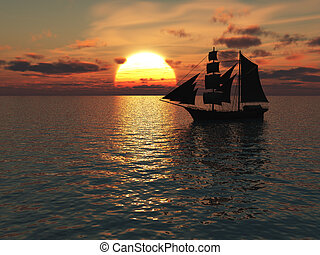 Ship out at sea at sunset. - An old merchant ship out at sea...