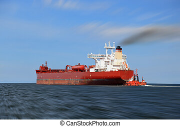 Ship panning - Panning photo with a tanker on the sea.