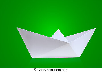 Ship - Paper boat with green background