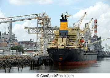Ship - Photographed freighter ship docked at Savannah...