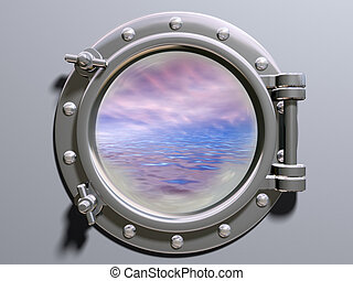 Ship porthole looking out to a dreamlike horizon