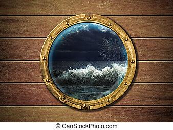 ship porthole with storm outside