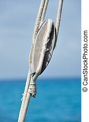 Ship pulley with rope