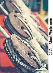 Ship pulleys retro style
